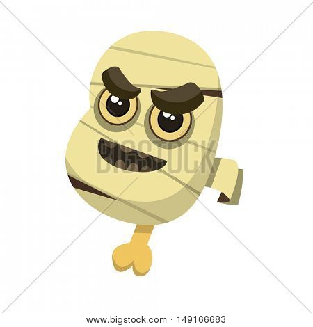 Angry head of mummy with backbone, open mouth and bandage or gauze