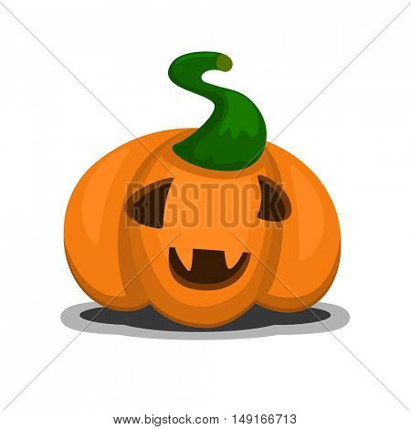 Happy Halloween smiling pumpkin icon in cartoon and flat style for festive design with shadow
