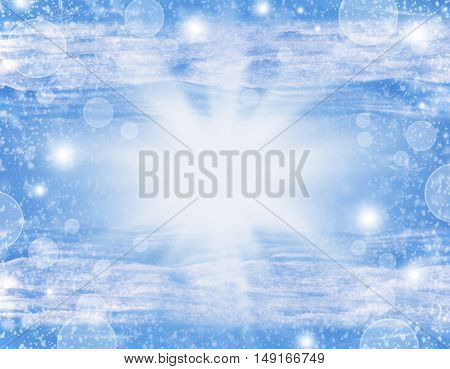 Christmas is approaching. Holiday positive background with rays of light snow bokeh stars. Abstract winter background.