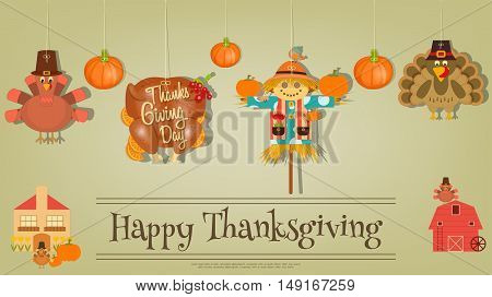 Thanksgiving Poster - Symbols and Signs of Turkey Day. Turkey Scarecrow and Pumpkin. Invitation Card for Party. Vector Illustration.