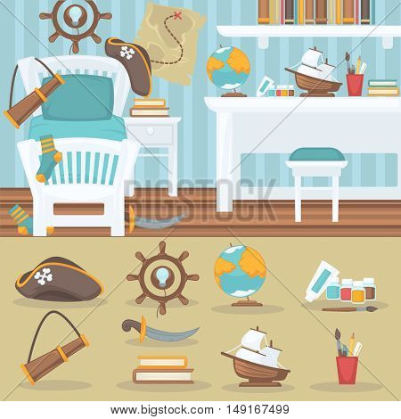 Child bedroom interior for boy. Pirate baby room with furniture and toys. Playroom for kid in flat style. Vector illustration