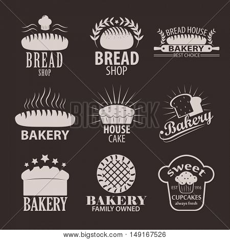 Set of bakery or cakery and bread shop logos, badges, labels and design elements.