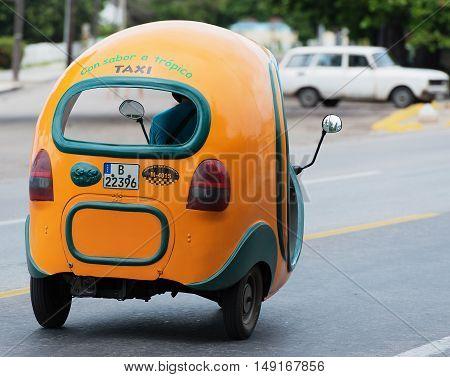 Varadero, Cuba - September 06, 2016:  Taxi Coco Mobil in Varadero Cuba