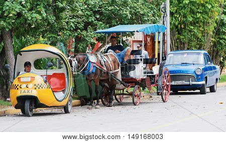 Varadero, Cuba - September 06, 2016:  Taxis at a break in Varadero Cuba