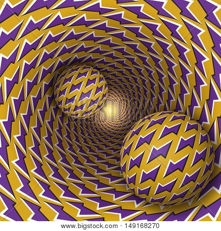 Optical illusion illustration. Two balls with lightnings pattern are moving on rotating purple lightnings yellow funnel. Abstract fantasy in a surreal style.