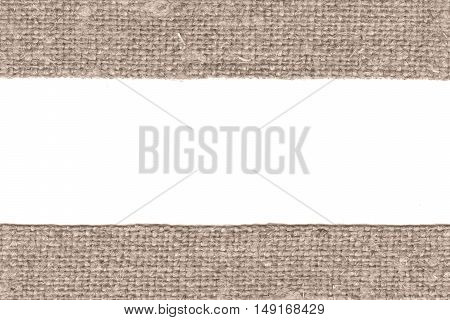 Textile weft fabric patch brown canvas antique material retro-styled background
