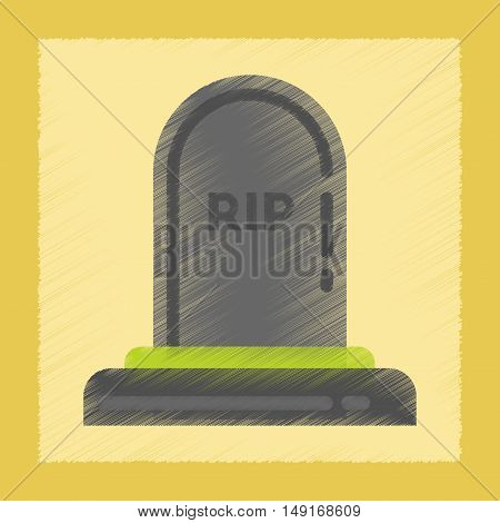 flat shading style icons of halloween grave