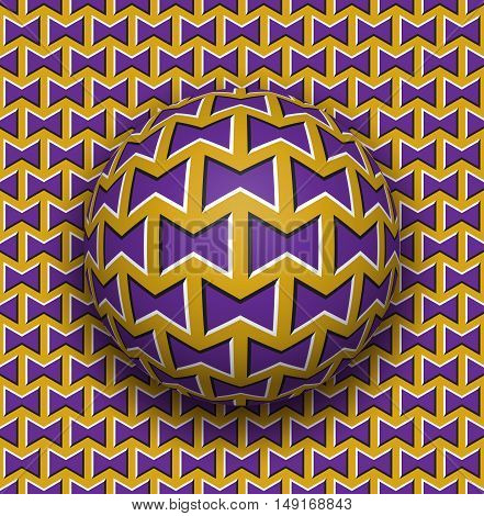 Ball rolls along surface. Abstract vector optical illusion illustration. Purple bows on golden pattern motion background. Tile of seamless wallpaper.