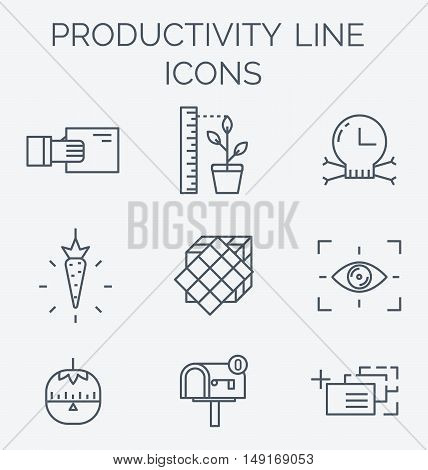 High productivity, success business workflow and time management symbols. Timer and motivation emblems.