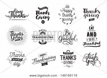Thanksgiving day typography set. Labels, logo, text design. Usable for banners, greeting cards, posters etc
