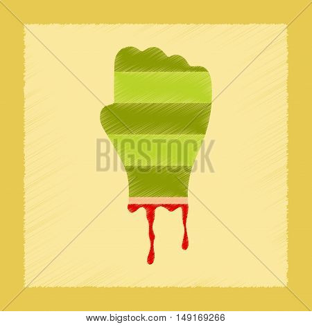 flat shading style icons of halloween zombie hand