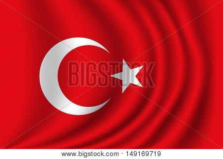 Turkey flag fabric side wave vector illustration.