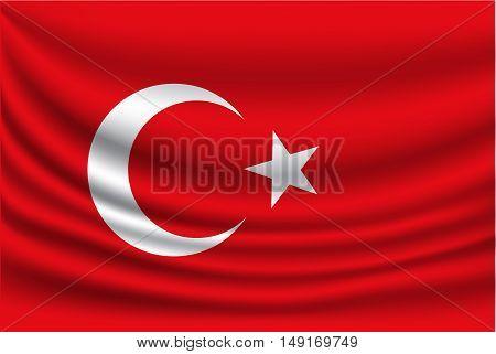 Turkey flag fabric bottom wave vector illustration.