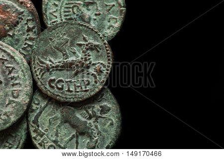 Ancient Roman Copper Coins With Differemt Images