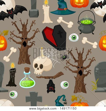 Halloween background. Seamless halloween traditional elements pattern. Retro cartoon flat style vector illustration