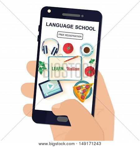 Template application in your phone for the study of the Italian language. Vector illustration.