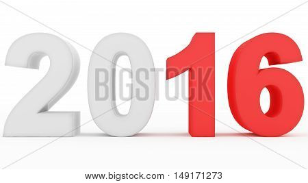 year 2016 count numbers isolated on white