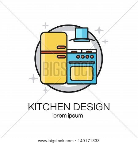 Kitchen design line icon web logo template. Banner or flyer concept for kitchen shop, house appliances and home technology. Vector illustration.