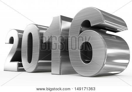 year 2016 metal numbers isolated on white