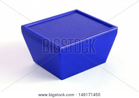 Blue plastic box on a white background
