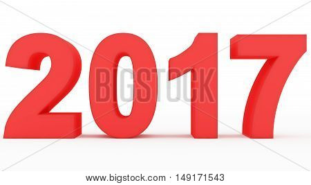 year 2017 red numbers isolated on white
