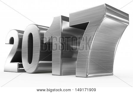 year 2017 metal numbers isolated on white
