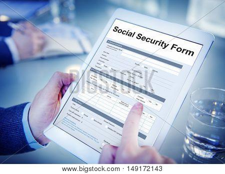 Social Security Benefits Form Concept