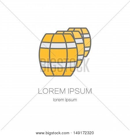 Wooden barrels line logo. Beer or wine logos design templates for all kinds of beer-related companies.