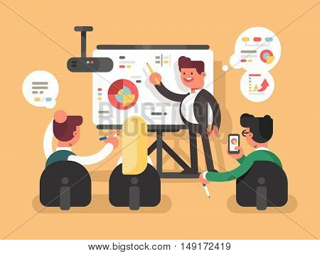 Business report presentation. Man shows charts and graphs on seminar. Vector illustration