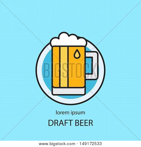 Modern easy to edit line style logo template with traditional beer mug. Vector design series.