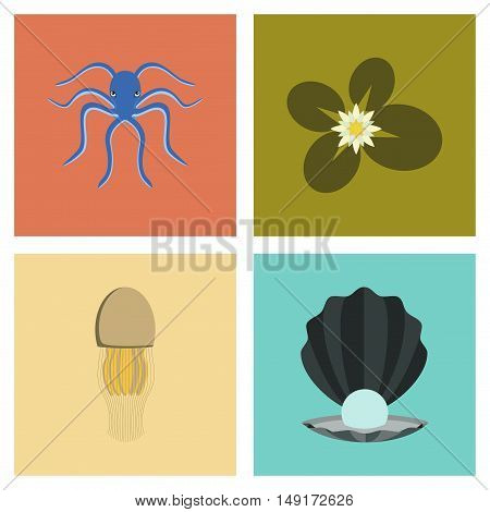 assembly of flat Illustrations animal octopus jellyfish water lily pearl mussel