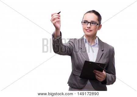 Businesswoman pressing virtual button in business concept