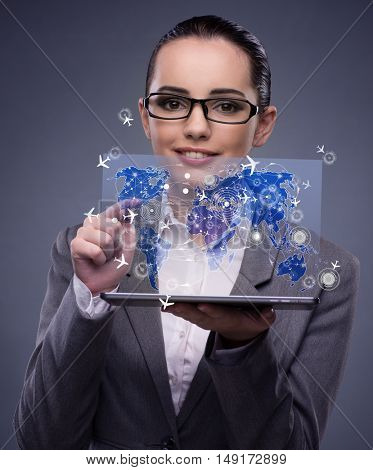 Young businesswoman in online travel booking concept