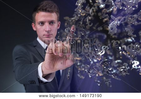 Man pressing virtual button with dollars