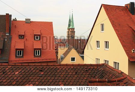 Germany. Nuremberg. Aerial view of the old city architecture