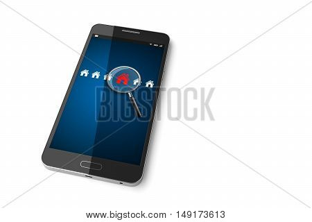 Smartphone with Searching for house of home on display. 3D illustration