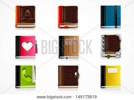 Set of nine different books on white background