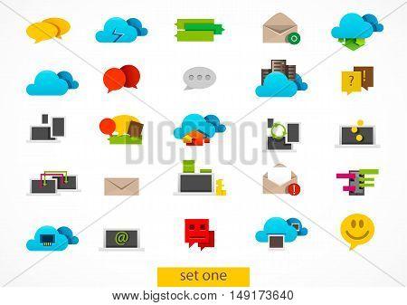 Set of twenty five technology icons on white background