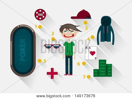Flat guy with items for playing poker on white background