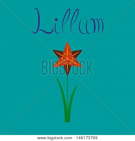 flat illustration on stylish background flower narcissus