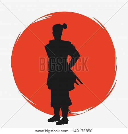 Samurai man cartoon icon. Japan and asian culture theme. Silhouette design. Vector illustration