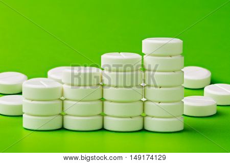 Chart from white round pills on green background