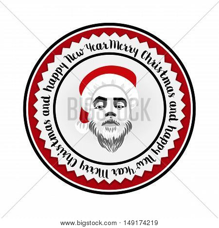 Vector monochrome flat logo daring hipster Santa Claus fashion label silhouette with wishes of Merry Christmas Happy New Year and cool beard Christmas background for greeting card poster or label.