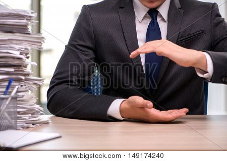 Businessman holding hands in business concept