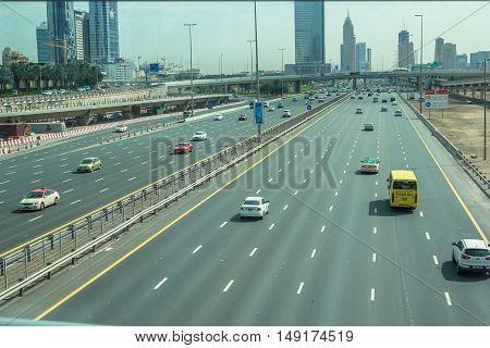 Dubai, United Arab Emirates - May 2, 2013: traffic on Sheikh Zayed Road, the highway E 11, which runs through Dubai.
