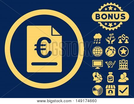 Euro Invoice icon with bonus images. Vector illustration style is flat iconic symbols yellow color blue background.