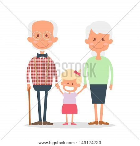 Senior people happy leisure time with granddaughter. Happy Grandparents with little granddaughter. Vector illustration.