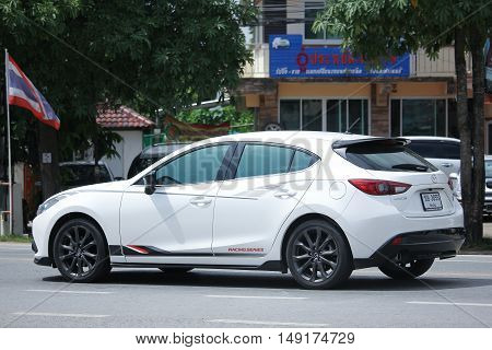 CHIANGMAI THAILAND -AUGUST 18 2016: Private car Mazda3. Photo at road no.121 about 8 km from downtown Chiangmai thailand.