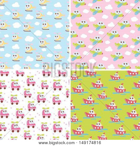 Kids patterns set with cute car airplane helicopter ship. Flat vector texture collection. Perfect for baby fabric wallpaper textile. Etc