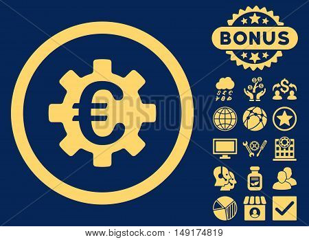 Euro Machinery icon with bonus images. Vector illustration style is flat iconic symbols yellow color blue background.